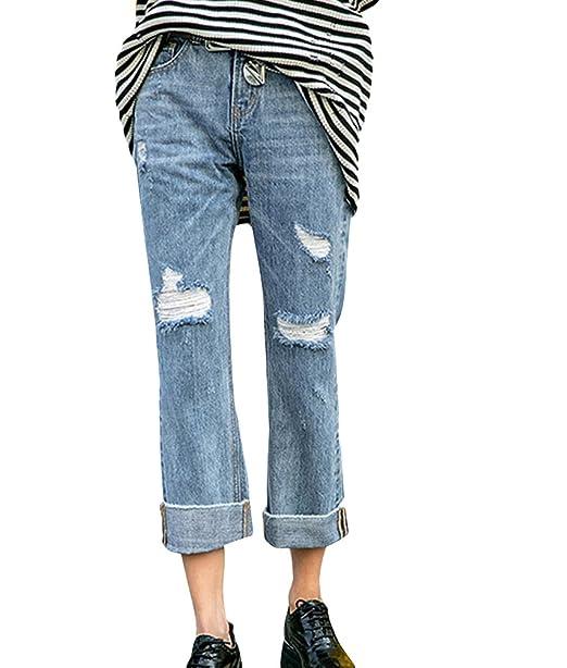 1f944ab6bd ZhiYuanAN Donna Jeans Boyfriend Moda Rotti Strappati Loose Fit Denim ...
