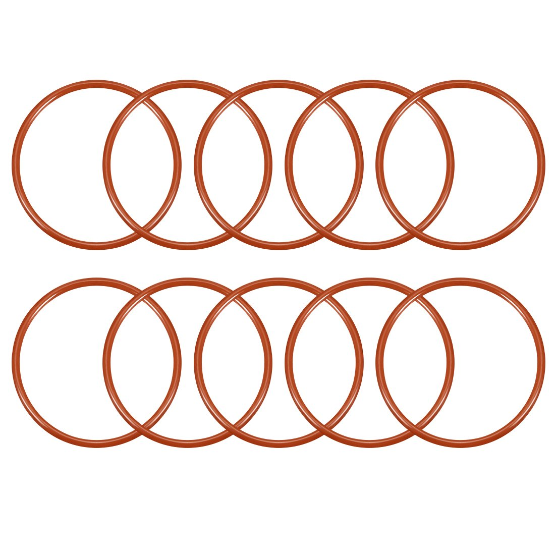 sourcing map 10pcs Silikon O-Ring 45mmx40,2mmx2,4mm VMQ Dichtring Dichtungsring Dichtung rot DE de