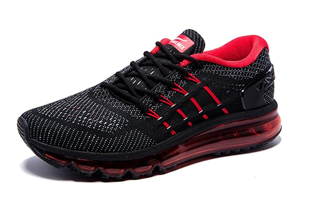 ONEMIX Men's Air Running Shoes, Light Gym Outdoor Walking Sneakers B078FWK23F 12.5 D(M) US|Black Red