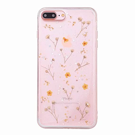 61a56a93a Image Unavailable. Image not available for. Color: Real Flowers Dried  Flowers Transparent Soft Cover for Coque iPhone X 6 6S 7 8 Plus