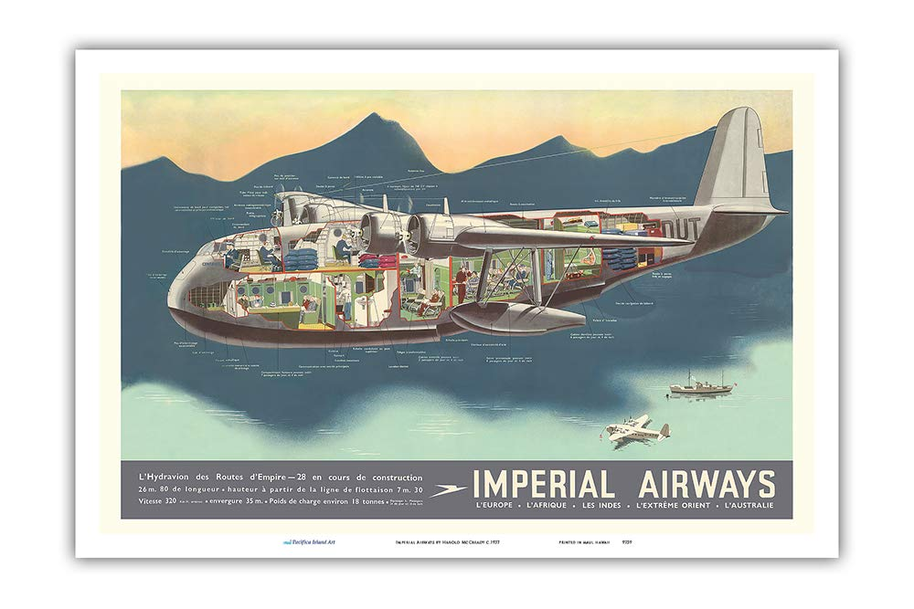 Master Art Print Vintage Airline Travel Poster by Harold McCready c.1937 Empire Flying Boats Aircraft 12in x 18in Pacifica Island Art Imperial Airways