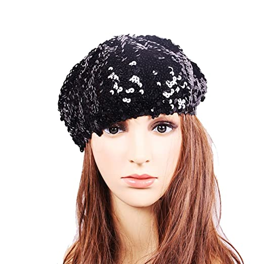 Idopy Women`s Sequin Beret Hat Sparkly Shining Party Beanie Cap (Black) 9bc3406f791