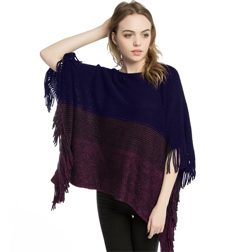 Leoparts Colorblock Knit Tassel Poncho For Women Cashmere Pullover Shawl Wrap Sweater
