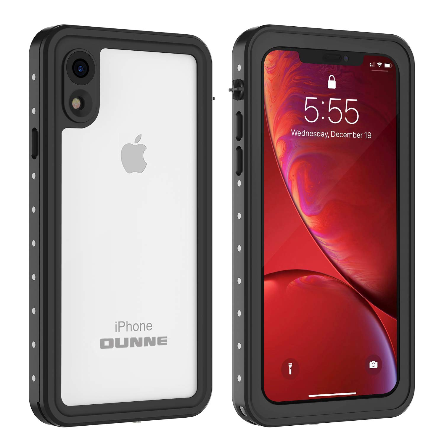 OUNNE iPhone XR Waterproof Case, Full Sealed Underwater Cover IP68 Certified Dustproof Snowproof Shockproof Waterproof Phone Case for iPhone XR (Clear)
