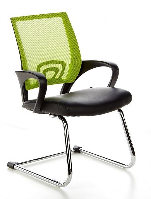 hjh OFFICE 650440 VISTO NET V Silla de Confidente, en malla negro, verde cromado