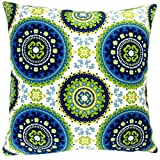ARTISAN PILLOWS Indoor/ Outdoor 18-inch Modern Contemporary Geometric Circles Blue Lime Green Yellow Throw Pillow (Set of 2)