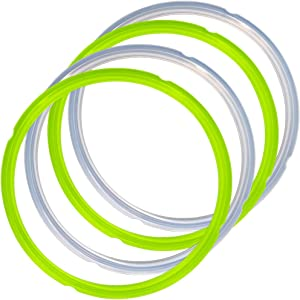4 Pack Silicone Sealing Rings for Instant Pot, FineGood 2 Colors 5/6qt Size Sweet and Savory Edition Accessory for Pressure Cooker - Green, Clear