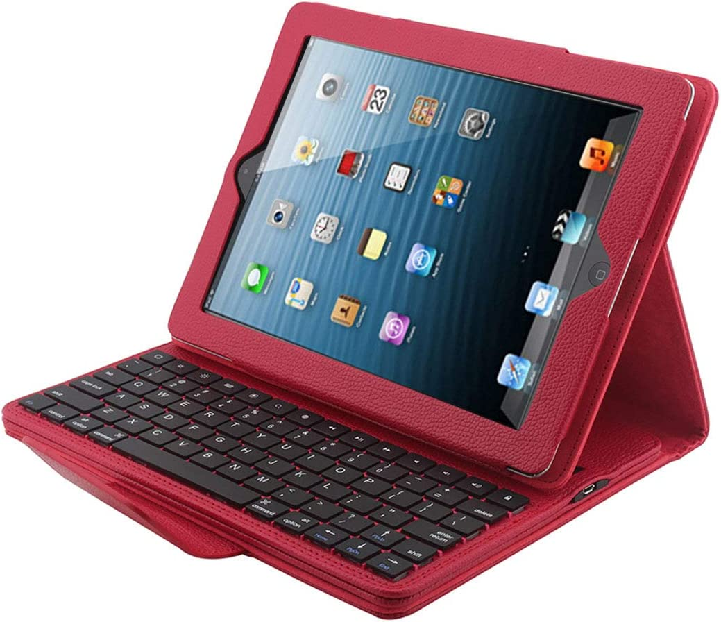 Red 2 CellphoneMall Keyboard Bluetooth 3.0 Keyboard with Detachable Leather Case for iPad 4//3 Color : Red