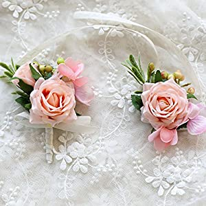 Florashop Satin Rose Green Berry Corsage and Boutonniere Pack Wedding Bridal Bridesmaid Wrist Corsage Band Men's Groom Bridegroom Boutonniere for Wedding Prom Party Homecoming 101