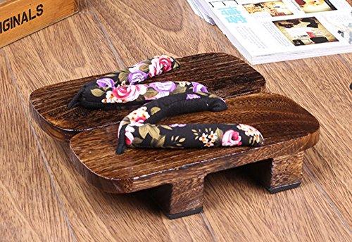 Crb Mote Kvinners Menns Japansk Tre Tradisjonelle Kimono Geta Sandaler Tresko Sorte Blomster