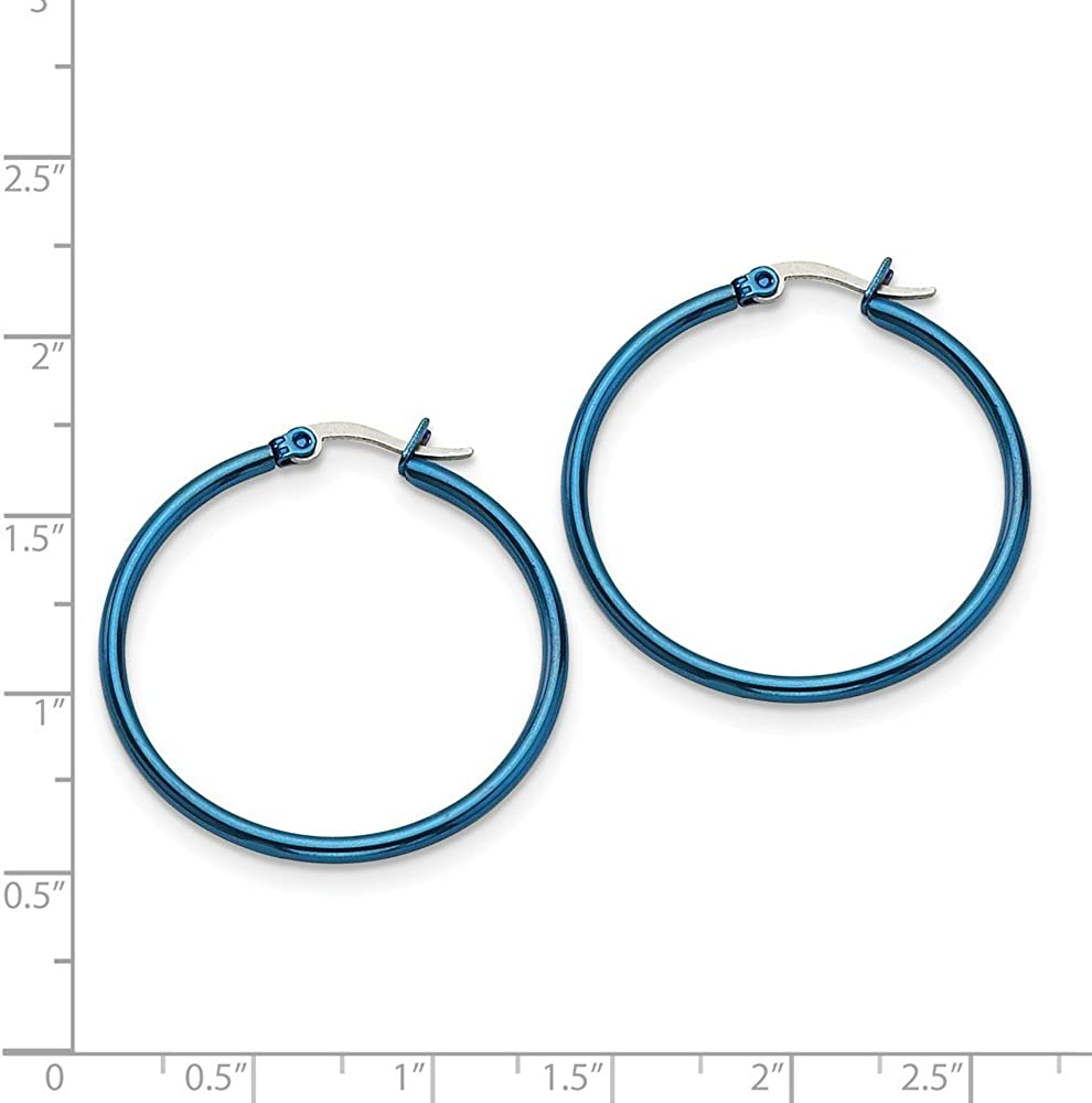 Stainless Steel Blue IP plated 32mm Hoop Earrings