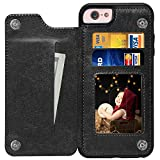 iPhone 6 Case, iPhone 6S Case, kazineer Black Leather Slim Back Cover with Credit Card Holder Protective Case [Compatible with magnetic car mount] for Apple iPhone 6 / iPhone 6S Cover