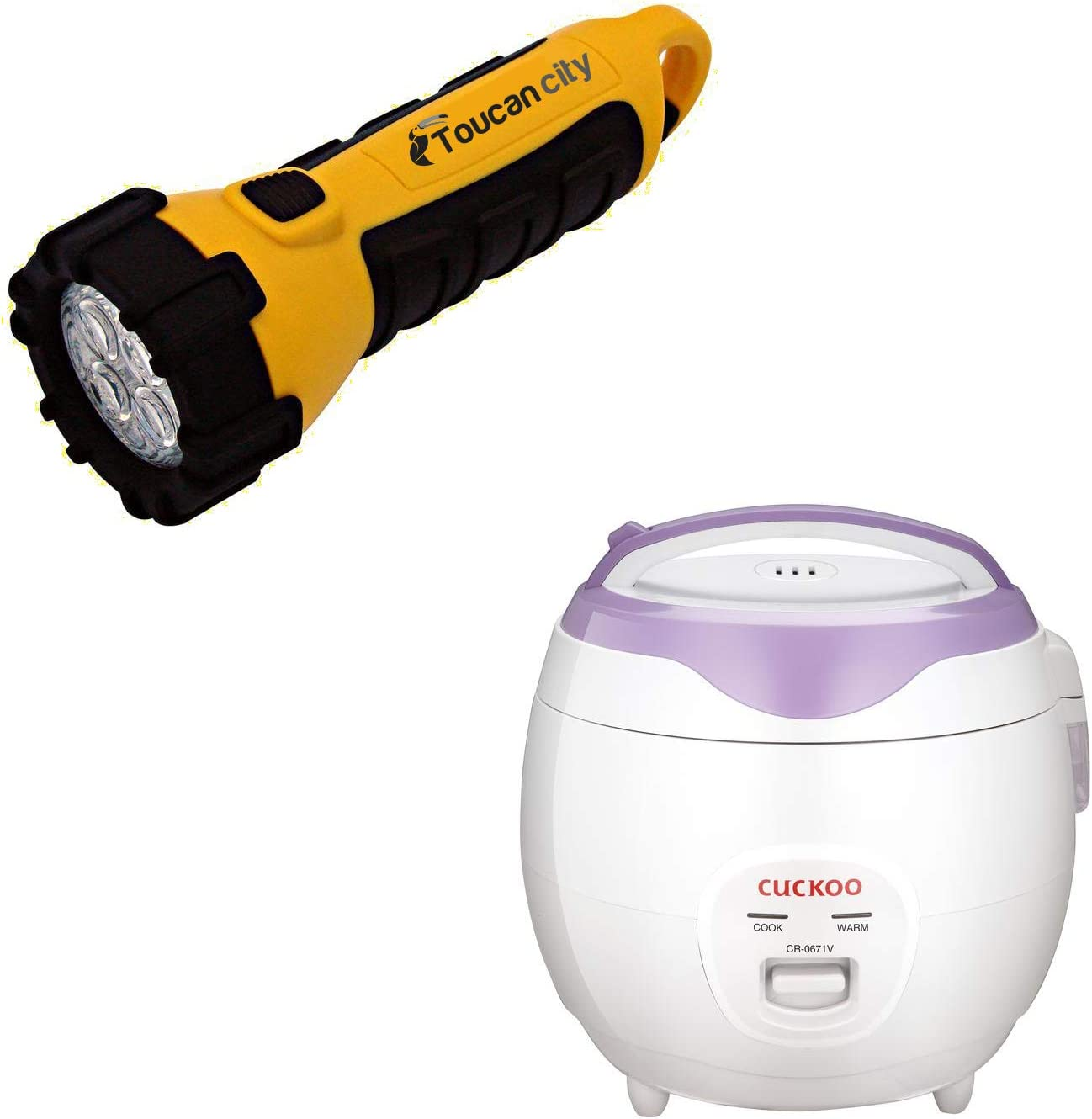 Toucan City LED Flashlight and Cuckoo 3.2 qt. 6-Cup White/Violet Electric Rice Cooker and Warmer CR-0671V