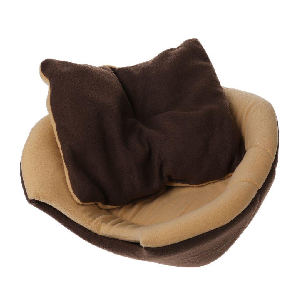 55x44cm Tebatu 2 Uses Foldable Soft Cat Dog Bed House Pet Cave Puppy Sleeping Mat Pad Nest Coffee 55x44cm