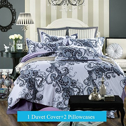 Ttmall 3-pieces Full Queen Size Microfiber Duvet Cover Set