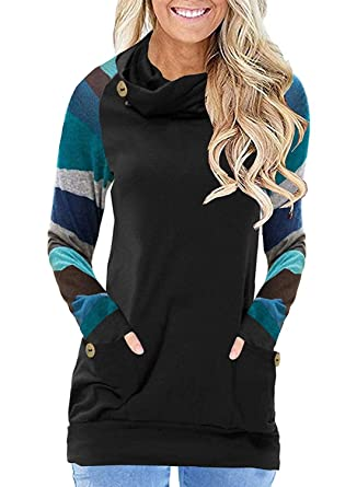 cd130eae AlvaQ Women Ladies Button Cowl Neck Patchwork Striped Long Sleeve Pullover  Sweatshirt Hooded with Pockets Tunic