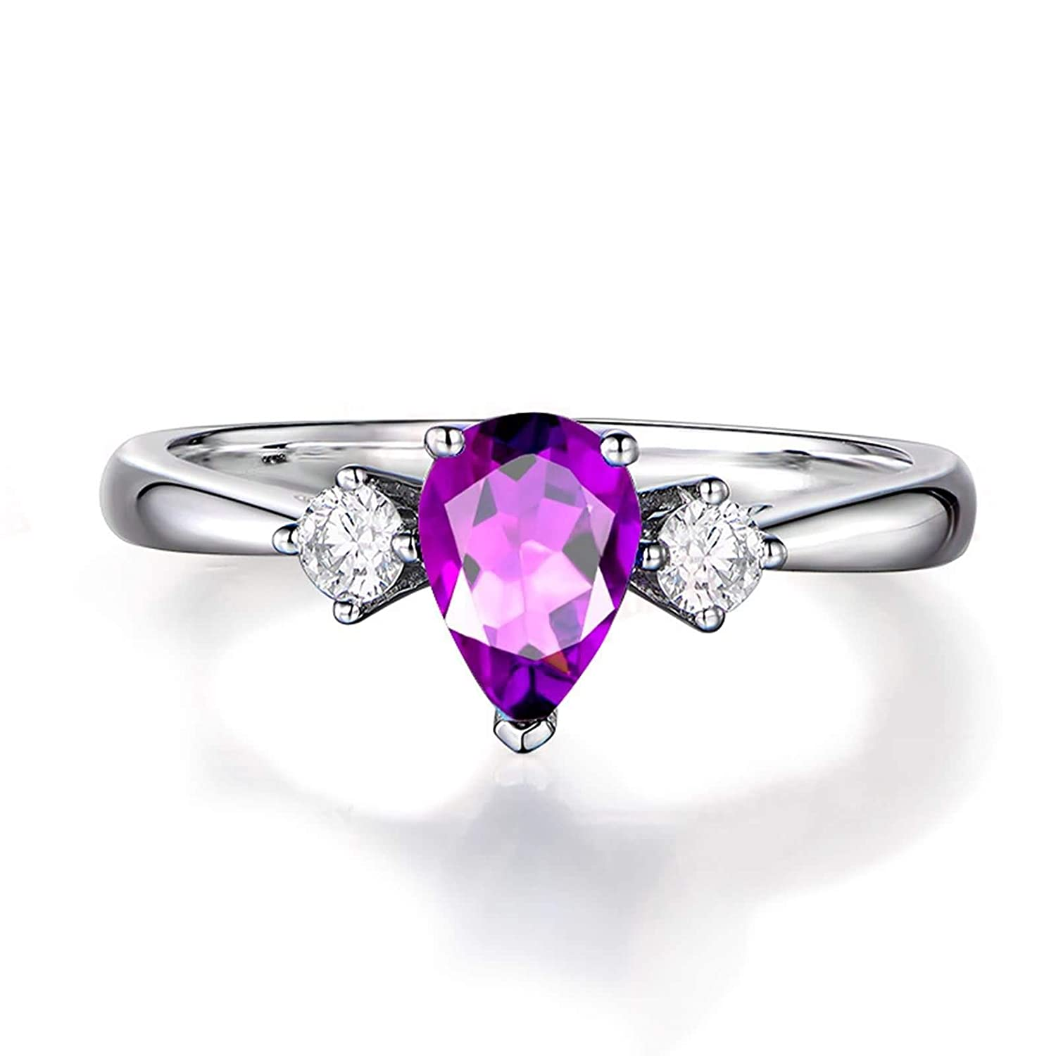 MoAndy Sterling Silver Rings for Women Purple Pear Shape Amethyst Anniversary Wedding Band Engagement Ring Size 4-11