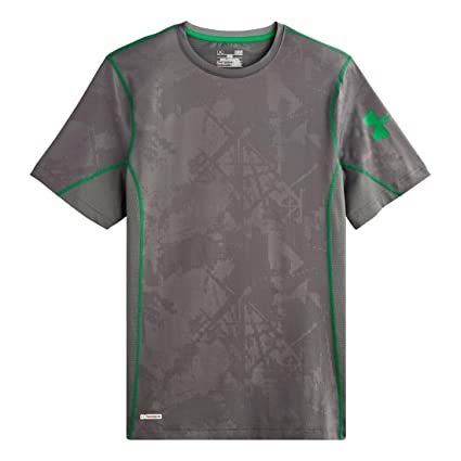 fca3702e32e53 Under Armour Men s HeatGear Sonic Fitted Printed Short Sleeve X-Large  Graphite