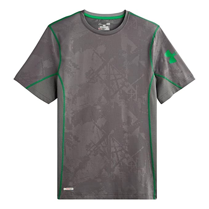Amazon.com: Under Armour Men's HeatGear Sonic Fitted Printed Short Sleeve  Large Graphite: Sports & Outdoors