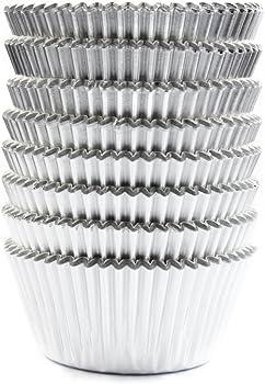 Eoonfirst Silver Foil Metallic Cupcake Case