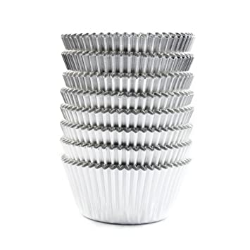 Amazon.com: Eoonfirst Silver Foil Metallic Cupcake Case Liners ...
