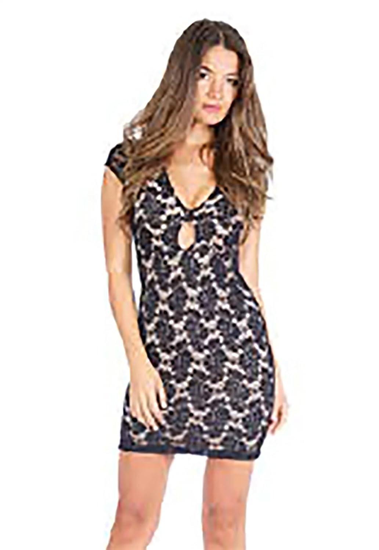 Nightcap Clothing Teardrop Lace Mini Dress in Black