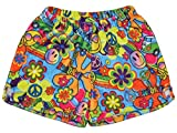 iscream Big Girls Silky Soft Print Plush Shorts - Summer of Love, Small