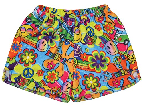 - iscream Big Girls Silky Soft Print Plush Shorts - Summer of Love, Medium