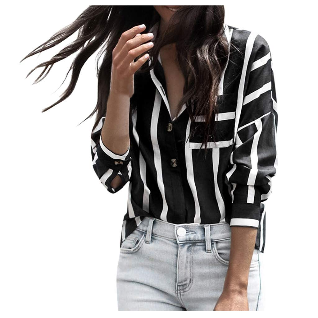 AmyDong Women's Autumn Daily Striped Print Blouse Ladies Long Sleeve Casual T-Shirt Button Down Top S-XL Black by AmyDong Women Blouse