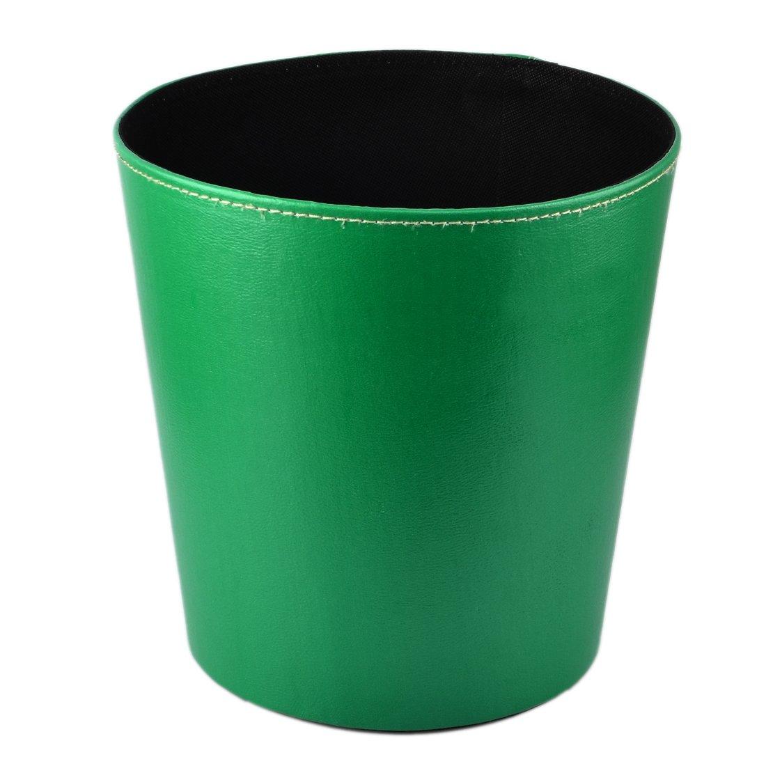 Garbage Bin, Lommer Design Simple PU Corbeille à papier poubelle sans couvercle, vert foncé, 10.2x10.2x7.8inch