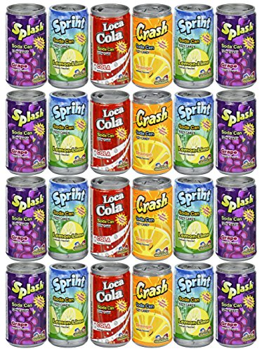 Price comparison product image Set of 24 - .25oz Mini Soda Can Fizzy Candy! - Goody Bag Filler - Party Favor - 4 Assorted Flavors!