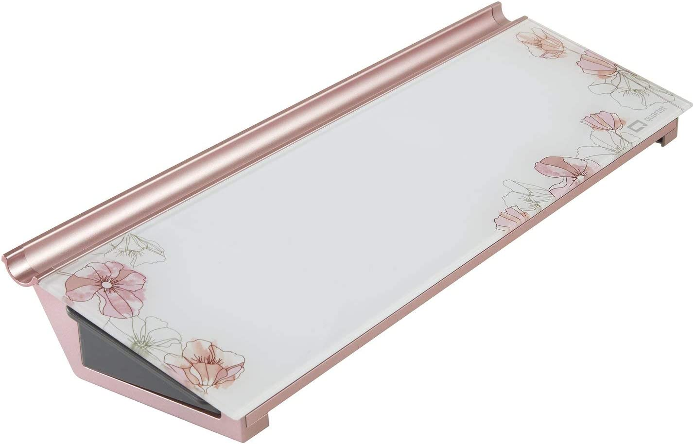 "Quartet Glass Desktop Computer Pad, 18"" x 6"", Whiteboard, Dry Erase Surface, Floral (GDP186P)"