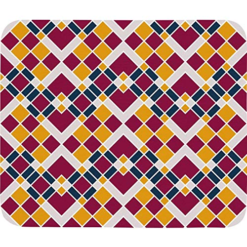 (Retro Fabric Tiled Ornament Checkerboard Mouse Pad Natural Rubber Excellent Cloth Mousepad Stable No Slip Easy to Clean Office Home Computer Laptop Durable Rectangle Officework 200X225 Mm Mouse Mat)