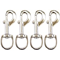 Huouo 6 Pcs 2 Inches Flag Pole Snap Clip Hooks Stainless Steel Flagpole Attac...