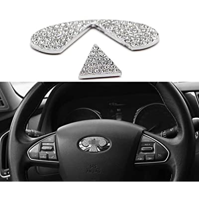 MAXMILO Steering Wheel Bling Crystal Shiny Diamond Accessory Interior Sticker for Infiniti Q50Q50L QX50QX70: Automotive