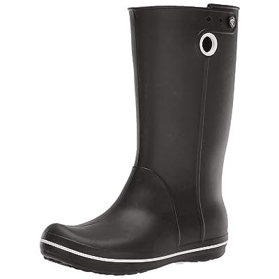 Crocs Women's Crocband Jaunt Rain Boot | Waterproof Rain Boot| Easy On Ankle Boot, Black, 6 M US | Mid-Calf