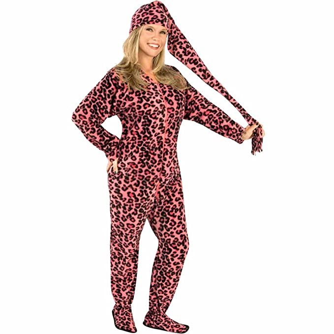 e2910cd57 Amazon.com  Pink Leopard Adult Footed Pajamas with Drop Seat and ...