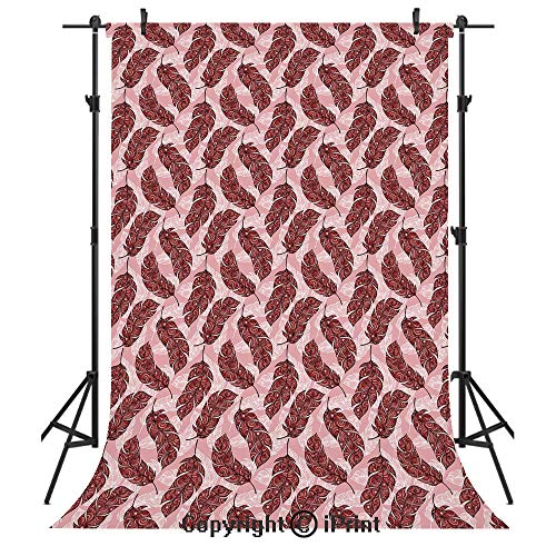 Feather Photography Backdrops,Vibrant Ethnic Patterned Artistic Feathers Peacock Spiritual Boho Hippie Decorative,Birthday Party Seamless Photo Studio Booth Background Banner 6x9ft,Pale Pink Ruby Red (Rubies Costume Lavender)
