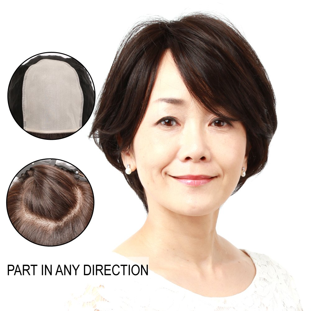 cdd35b31f Amazon.com : Igennki Silk Top Lace Front Wigs Short Elegant Natural Black  Human Hair Wigs for Asian Women Medical Hair Loss JH30S005-N2 : Beauty