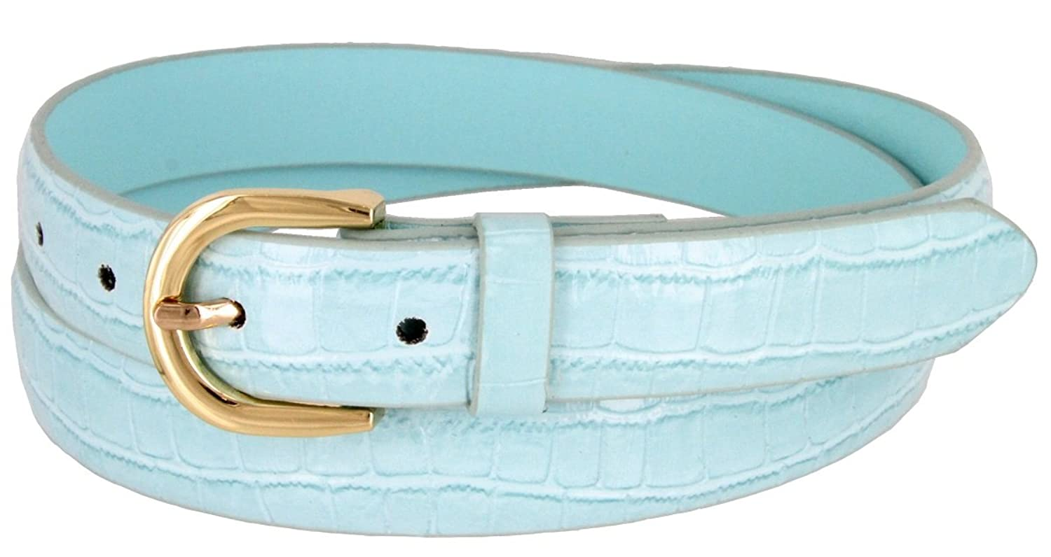 Women's Skinny Alligator Embossed Leather Casual Dress Belt with Buckle 7035 (Blue, XX-Large)