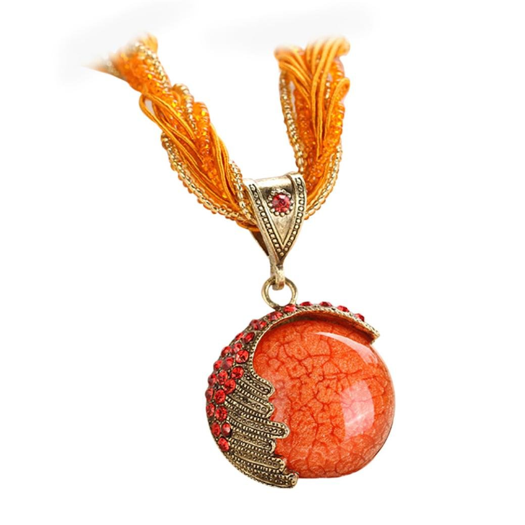 AIMTOPPY Bohemia Ethnic Jewelry Necklace Retro Ladies Rhinestone Gemstone Pendant Necklace (Orange)
