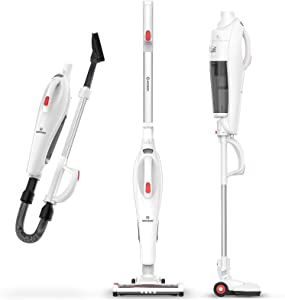 MOOSOO Cordless Vacuum Cleaner, 6 in 1 Stick Vacuum with 17Kpa Powerful Suction, Lightweight Upright Vacuum Cleaner with Hose LED Light for Pet Hair Cleaning Home Hardwood Floor Carpet Hard Floor Car