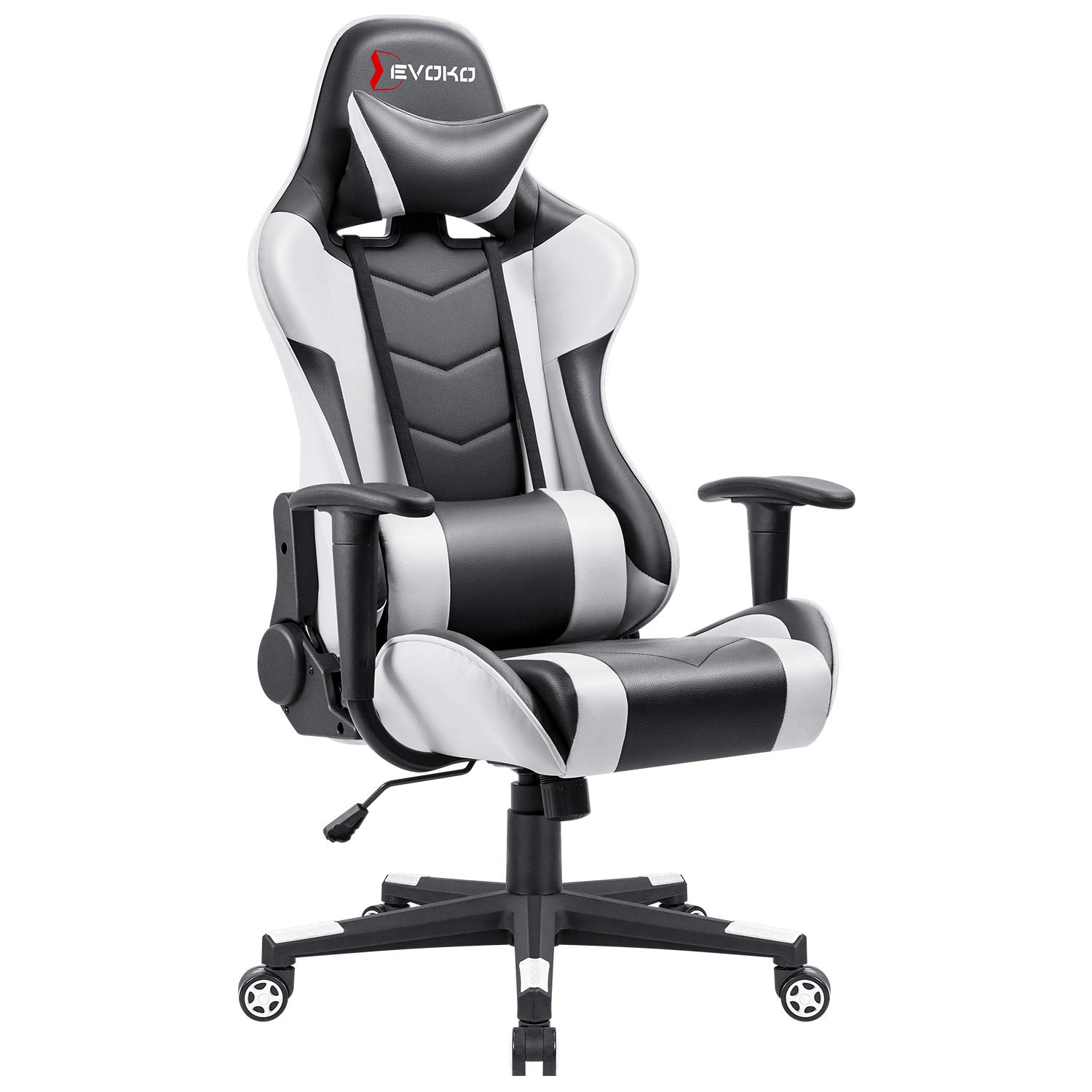 Gaming Chair Racing Style High Back PU Computer Chair Ergonomic Adjustable Height Desk Chair Recliner Swivel Executive Office Chair with Headrest and Lumbar Support White