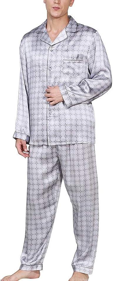 YONGYONG Conjunto De Pijama, Camisa De Hombre, Pantalón De Manga Larga, Ropa De Hogar Moderna Y Casual, 100% Tela De Seda Clothing/Sleepwear: Amazon.es: Ropa y accesorios