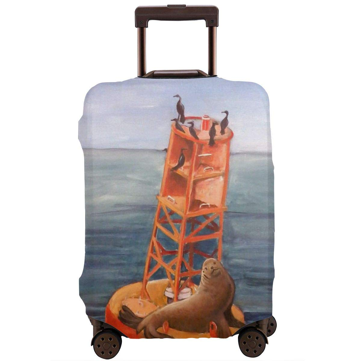 Yuotry Travel Luggage Cover Sea Lions On Buoy Zipper Suitcase Protector Luggage with Fixed Buckle Fits 18-32 Inch Luggage XL