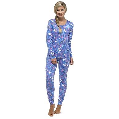 Tom Franks Ladies Summer Heart Print Long Sleeve Top Pyjama Set Pajama  Sleepwear  Amazon.co.uk  Clothing 49809bdb2