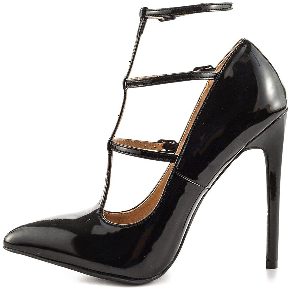Calaier Mujer Cabutterfly Tacón De Aguja 12CM Sintético Hebilla Zapatos de tacón 39.5|Negro