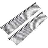 Petsvv 2 Pack Pet Stainless Steel Grooming Dog Cat Comb Tool