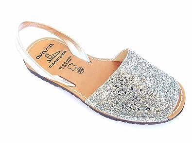 031d915be42560 Avarca -Abarca Silver Glitter Damen Leder eben original Sandalen Strand  Spanien (41)
