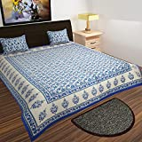 Traditional Mafia rses7032 Mughal Collection 100% Pure Cotton Printed Double Bedsheet With 2 Pillow Covers, King, Blue